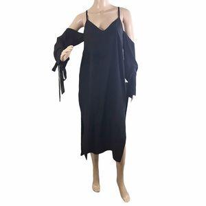 ASOS Silk Cold-Shoulder Column Midi Dress Size 4